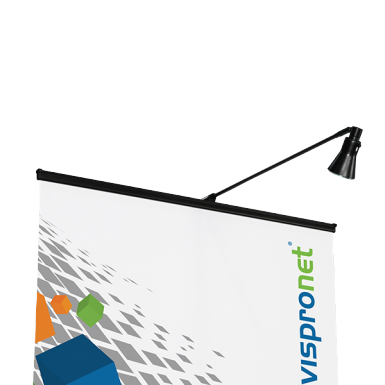 Black Roll Up Lights match the banner stand color and come as halogen, LED and color changing lights