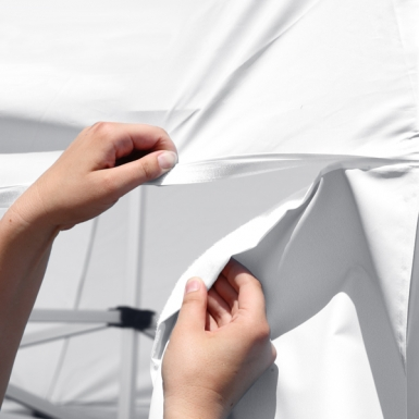 Tent walls easily attach to the canopy with hook-and-loop fasteners