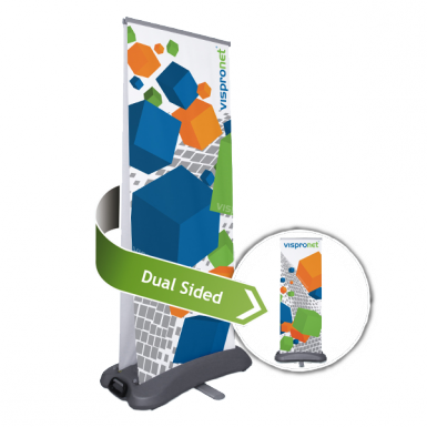 Dual sided roll up banner option that includes 2 custom prints