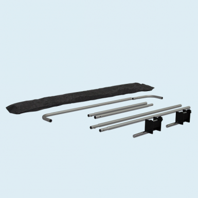 Includes pole set, table clamps and black tote