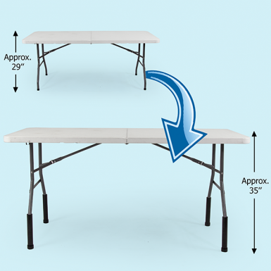 "Bent Table Leg Risers - Counter Height lift the height of 29"" tall Vispronet tables by 6"" to approx. 35"""