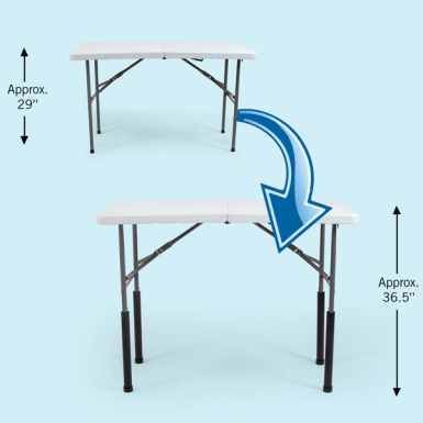 "Straight Table Leg Riser Set - Counter Height elevates 29"" table by 7.5"" to approx 36.5"""