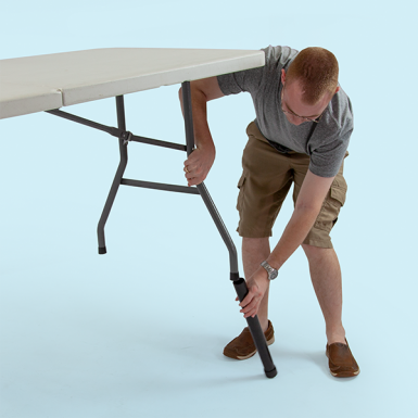 Table Risers easily slide into the table legs