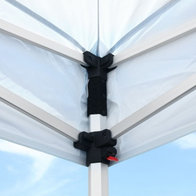 Hook-and-loop adhesive keeps tent frame anchored securely to the canopy.