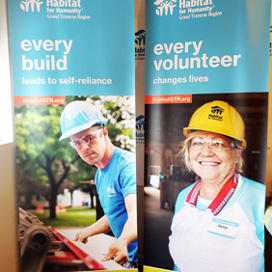 Two Habitat For Humanity Retractable Banners