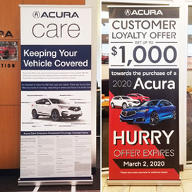 Banners customized with car dealership graphics